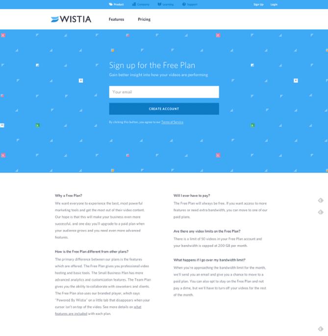 landing page da wistia